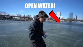 Download Fishing in Downtown on Sketchy Ice!! Video