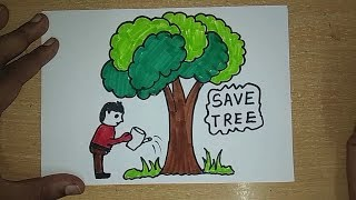 How To Draw Tree Drawing For Kids Save Trees Save Earth Save Life