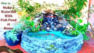 Download How to Make a Waterfall With Fish Pond at Home | Waterfall Make Using Waste Materials //GREEN PLANTS Video