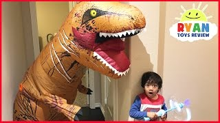Download Giant Life Size Dinosaur attacks Ryan Bad Magic Toys transformation Pretend Play Superhero Kid Video