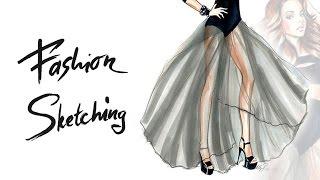 Download Fashion sketches: рисуем маркерами скетч девушки в пышной юбке, передаем фактуру и тона. Video