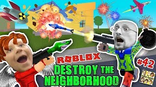 Download ROBLOX Destroy the Neighborhood w/ Airplane? AWESOME a 💩 Bomb! (FGTEEV Get Rich Destruction #42) Video