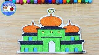 Cara Menggambar Dan Mewarnai Pemandangan Masjid Dengan Gradasi Warna