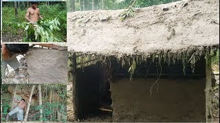 Download Primitive Technology, hut building with trees and clay in the forest | EP 02 Video