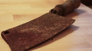 Download Very rusty cleaver (butcher's knife) restoration - step by step DIY Video