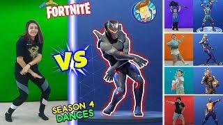 Download FORTNITE DANCE CHALLENGE in REAL LIFE #2 (Season 4 Dances HYPE, ORANGE JUSTICE, GROOVE JAM & POCORN) Video