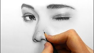 Download Drawing, shading and blending a minimalistic face with graphite pencils Video