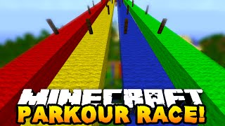 Download Minecraft 1v1v1 RAINBOW PARKOUR RACE! w/PrestonPlayz, Vikkstar123 & MrWoofless Video
