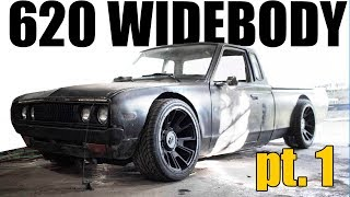 Download DATSUN 620 WIDEBODY BUILD PT.1: HUGE WHEELS ON A TINY TRUCK Video