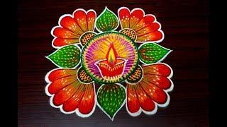 Download Deepam Rangoli for diwali | Easy unique rangoli using simple tools | diwali special kolam Video
