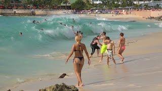 Download Maho Beach, St. Maarten. Big waves and Planes. Dec. 10, 2014. 4K Video