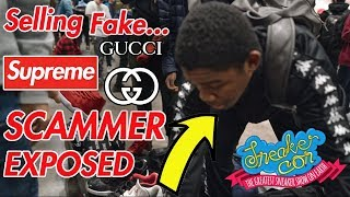 Download KID CAUGHT SELLING FAKE SUPREME & GUCCI (EXPOSED! AT SNEAKERCON) Video