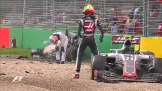 Download Alonso And Gutierrez Crash | Australian Grand Prix 2016 Video