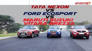 Download Ford Ecosport 2017 vs Maruti Vitara Brezza vs Tata Nexon COMPARISON | MotorOctane Video
