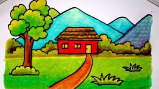 Download cara menggambar rumah dengan krayon untuk anak SD yang mudah (versi lambat) Video