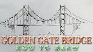 Download How to draw the Golden Gate Bridge EASY - San Francisco landmark Video