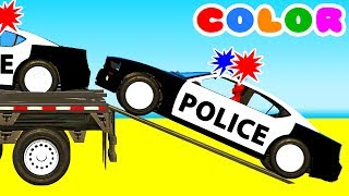 Download Color Police Cars on Bus and Spiderman Cartoon for kids w Superheroes for babies! Video