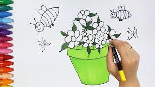 Download Çiçek ve Saksı Çizim Nasıl Yapılır | Nasıl Çizilir | Çiziyorum Boyuyorum Video
