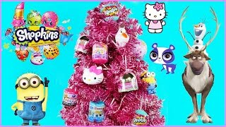 Download Cute Pink Christmas Tree w/ Surprise Toy Ornaments | Disney Frozen Shopkins Hello Kitty Toy Opening Video
