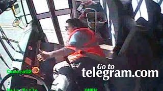 Download Worcester school bus driver falls off seat and crashes Video