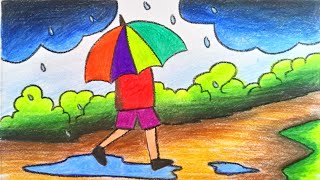 How To Draw Scenery Of Rainy Season With Color Step By Step Very
