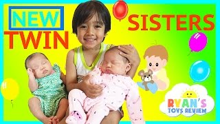 Download TWIN GIRLS Reveal Ryan ToysReview Newborn baby sisters New Family Members Video