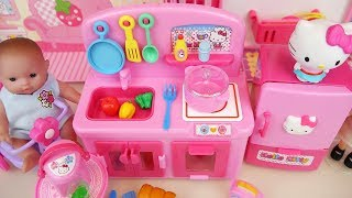 Download Baby doll and Hello Kitty mini kitchen cooking toys play Video