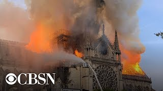 Download Notre Dame Cathedral in Paris on fire, live stream Video