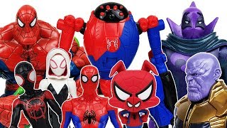 Download Spider-Man Into the Spider-Verse & Thanos, Miles Morales, Gwen, Ham, Avengers, Hulk Toys Play Video