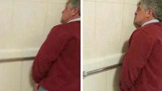 Download Drunk Man Falls Asleep At The Urinal Video