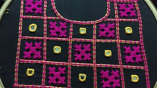 Download Hand embroidery neckline embroidery design with gujrati stitch by nakshi design art Video