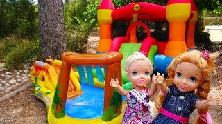 Download Elsa and Anna toddlers bouncy castle and games Video