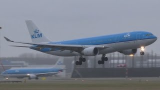 Download GO AROUND and landing during Storm! KLM A330 at Amsterdam airport Schiphol Video