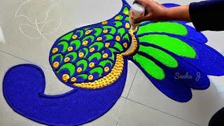 Download Very easy peacock rangoli for lakshmi pada Video