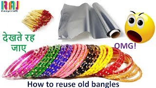 Download how to reuse old bangles || DIY art and craft || Room decor from old bangle # Raj easy craft Video