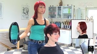 Download Extreme Pixie Short Haircut Makeover by Anja Herrig, hairundmehr red hair dye Video