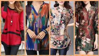 Download Latest most trendy 2019 multi color long sleeve cotton linen,, bland slit high-low blouse designs Video