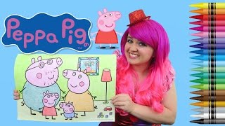 Download Coloring Peppa Pig JUMBO Coloring Page Crayola Crayons | COLORING WITH KiMMi THE CLOWN Video