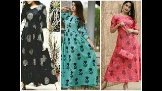 Download Latest printed cotton long kurtis ||cotton maxi dress designs Video