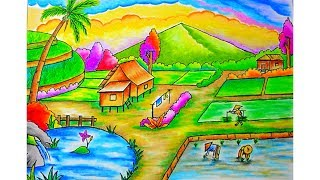 Download Cara menggambar pemandangan Gunung dan Sawah (Drawing scenery) Dengan Gradasi warna oil pastel Video