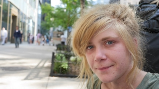 Download Young Homeless Girl Living on the Streets of New York City. Video