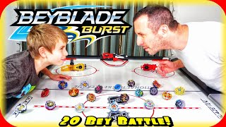 Download MUST SEE! Beyblade Burst 20 Bey Battle Royal on Air Hockey Table! It's about to get CRAZY in Here! Video