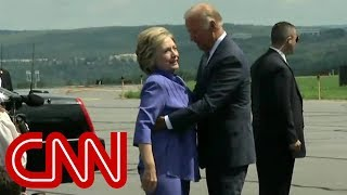 Download Watch Joe Biden give an endless hug to Hillary Clinton Video