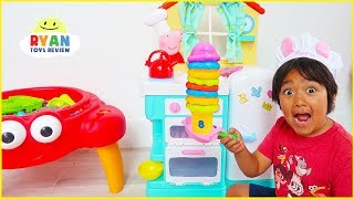 Download Ryan Pretend Play Cooking Food with Peppa Pig Kitchen Playset!!! Video