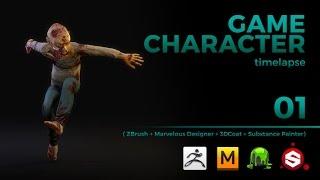 Download GAME CHARACTER TIMELAPSE | ZBRUSH, MARVELOUS DESIGNER, 3DCOAT and SUBSTANCE PAINTER - pt 01 Video