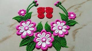 Download Beautiful flowers and leaves Rangoli design by Sangeeta    Easy Rangoli design for Laxmi pooja - Video