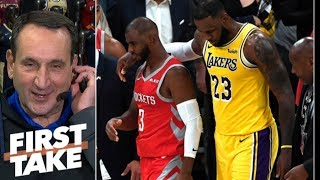Download Coach K: LeBron diffusing Lakers vs. Rockets fight was 'terrific' | First Take Video
