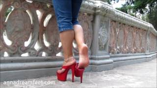 Download Anna's Walking at the park with my big thong red platforms Video