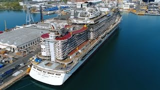 Download 4K | First Aerial Shots | Spectacular MSC Seaside under construction Fincantieri Shipyard Video