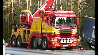 Download Scania Boniface Rotator Truck - Heavy Recovery of Semi Trailer - Sweden Video